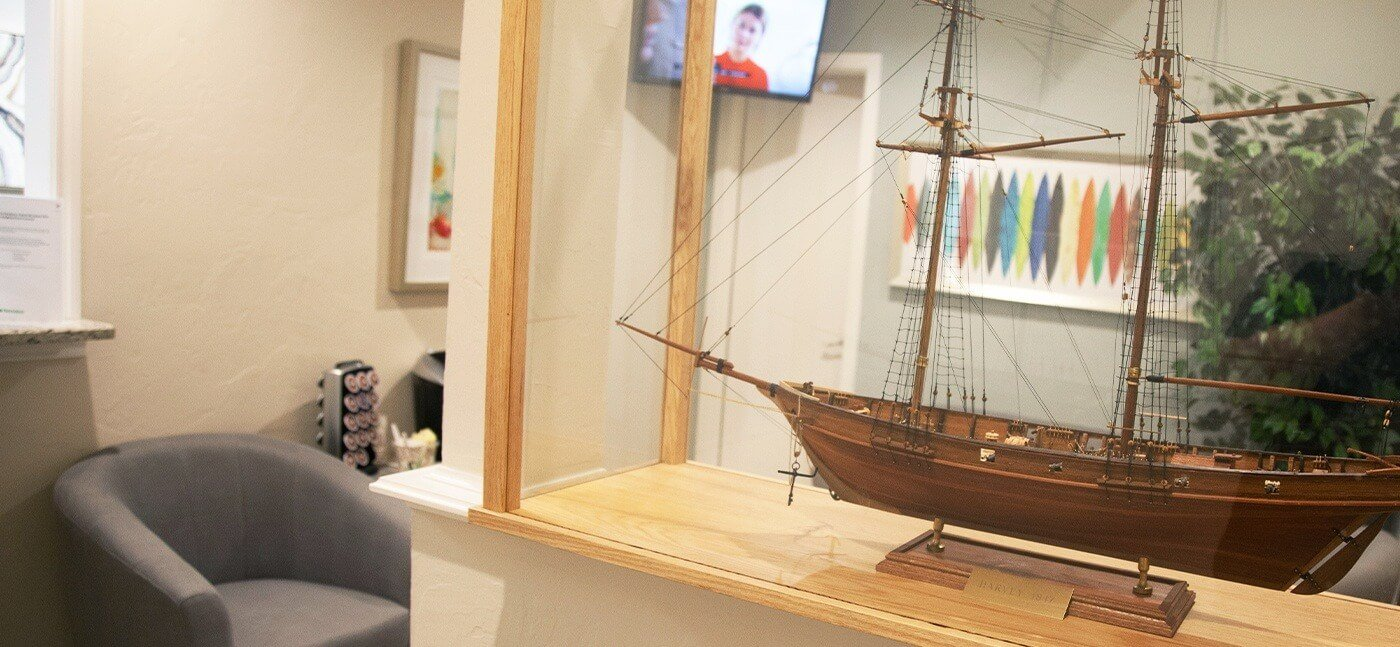 Ship model dental office reception area