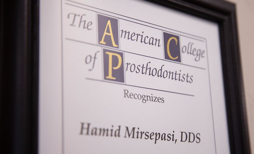 American College of Prosthodontists certificate